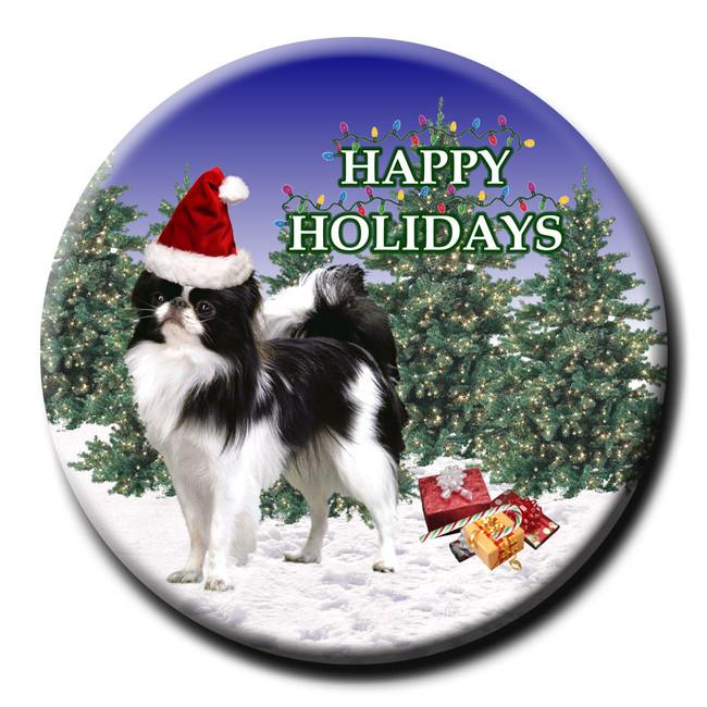 Japanese Chin Christmas Holidays Pin Badge