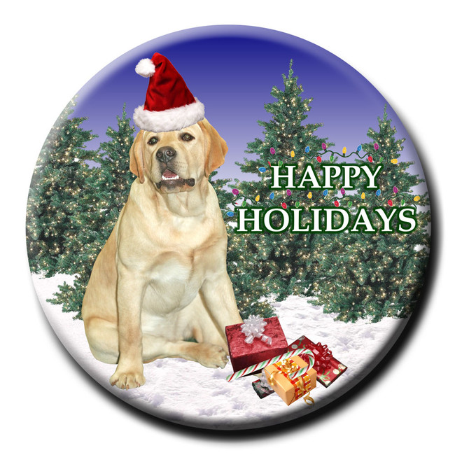 Labrador Retriever Christmas Holidays Pin Badge Yellow
