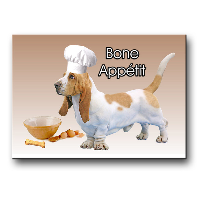 Basset Hound Bone Appetit Chef Fridge Magnet No 1