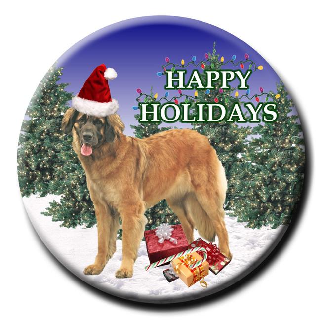 Leonberger Christmas Holidays Pin Badge