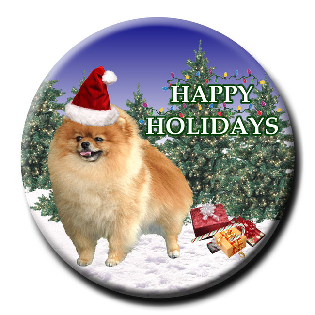 Pomeranian Christmas Holidays Pin Badge