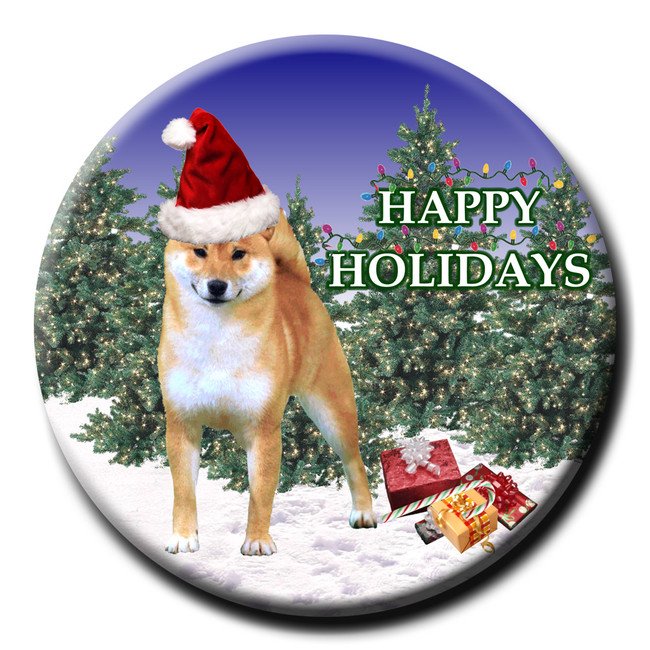 Shiba Inu Christmas Holidays Pin Badge No 1