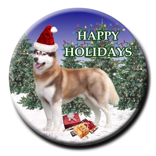 Siberian Husky Christmas Holidays Pin Badge No 2