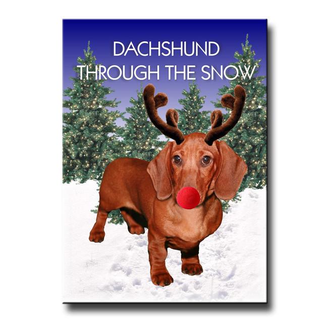 Dachshund Through The Snow Fridge Magnet No 5