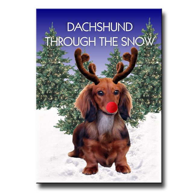 Dachshund Through The Snow Fridge Magnet No 4