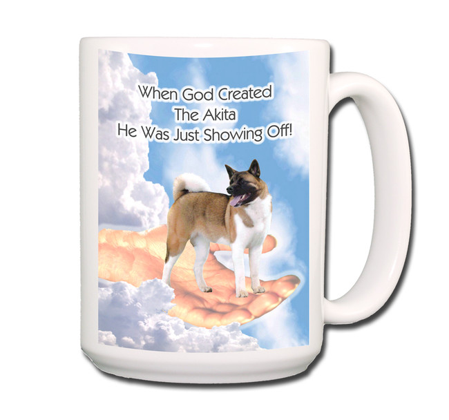 Akita God Showing Off Coffee Tea Mug 15oz