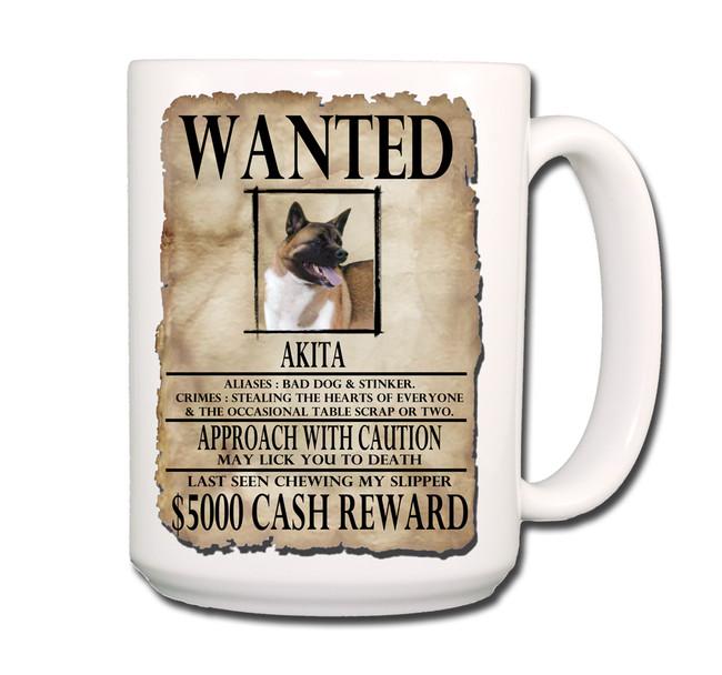 Akita Wanted Poster Coffee Tea Mug 15oz