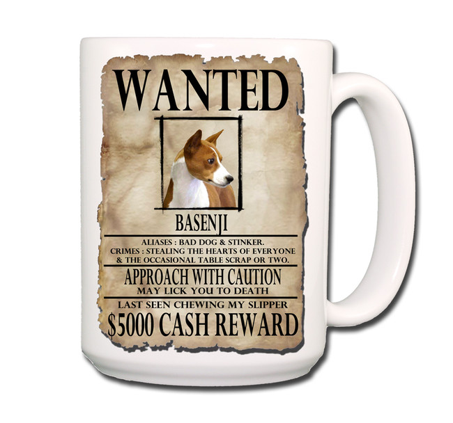 Basenji Wanted Poster Coffee Tea Mug 15oz No 1