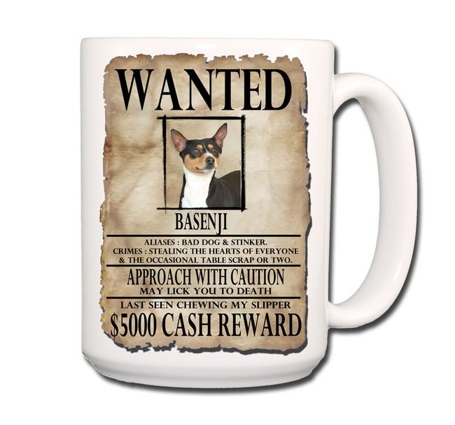 Basenji Wanted Poster Coffee Tea Mug 15oz No 2