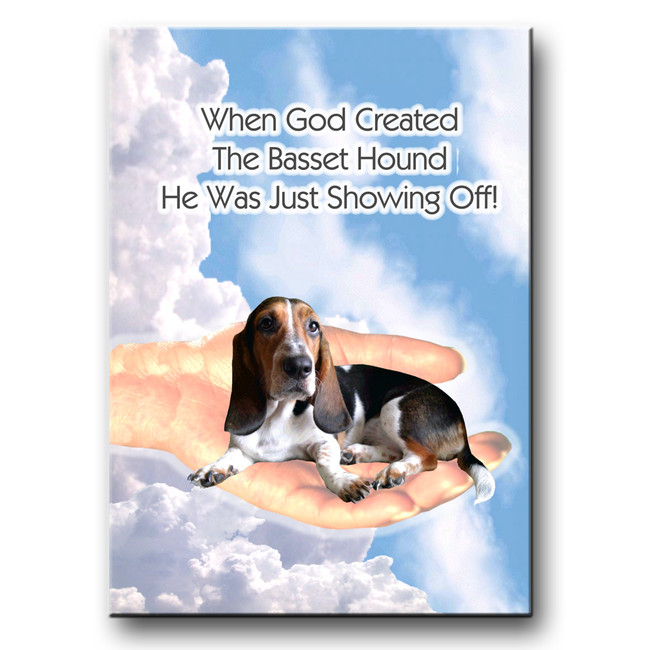 Basset Hound God Showing Off Fridge Magnet No 2