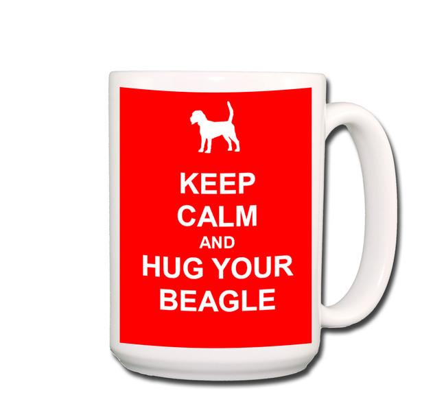 Beagle Keep Calm and Hug Coffee Tea Mug 15oz Red