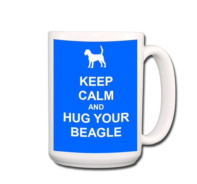 Beagle Keep Calm and Hug Coffee Tea Mug 15oz Blue