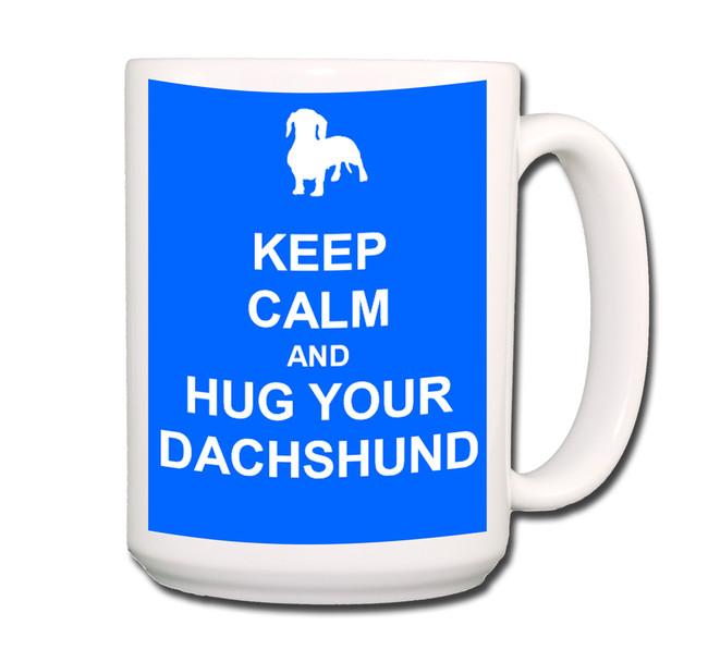 Dachshund Keep Calm and Hug Coffee Tea Mug 15oz Blue