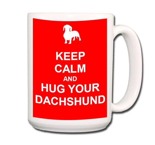 Dachshund Keep Calm and Hug Coffee Tea Mug 15oz Red