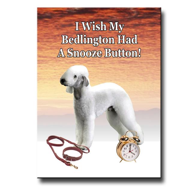 Bedlington Terrier Snooze Alarm Fridge Magnet