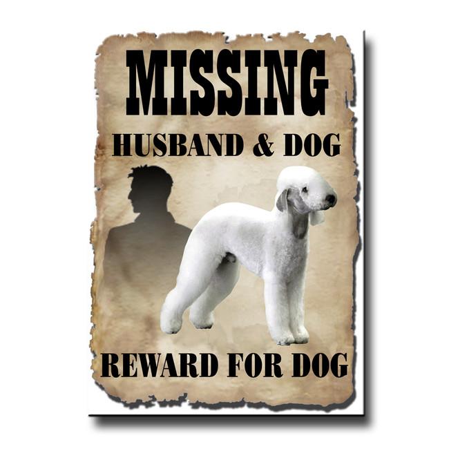 Bedlington Terrier Husband Missing Reward Fridge Magnet