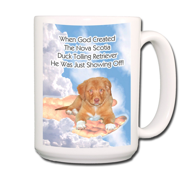 Nova Scotia Duck Toller God Showing Off Home Coffee Tea Mug 15oz No 2