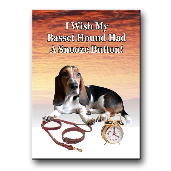 Basset Hound Snooze Alarm Fridge Magnet No 2