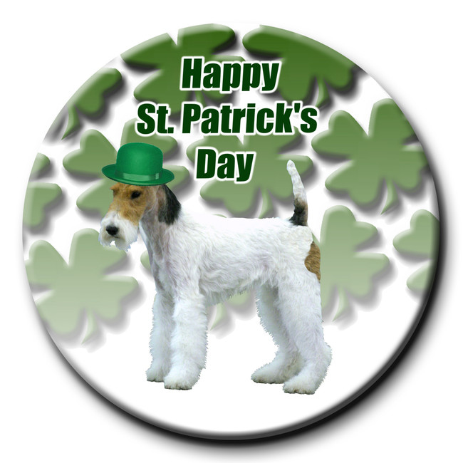 Wire Fox Terrier St Patricks Day Pin Badge