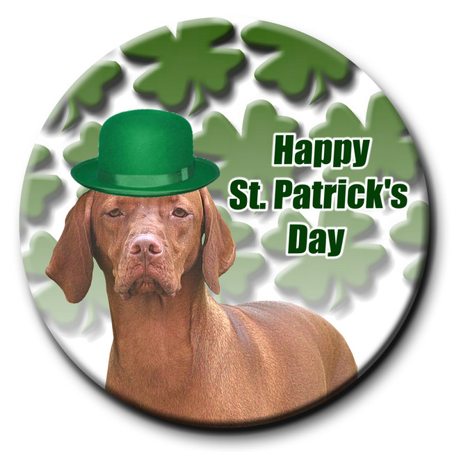 Hungarian Vizsla St Patricks Day Pin Badge
