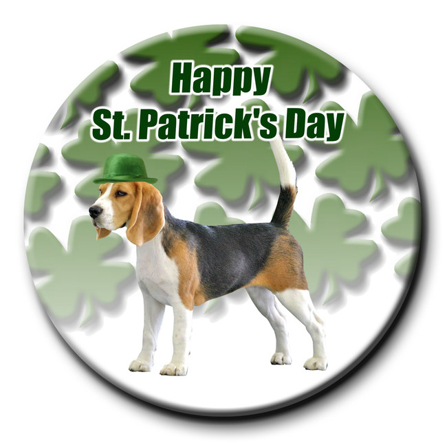 Beagle St Patricks Day Pin Badge