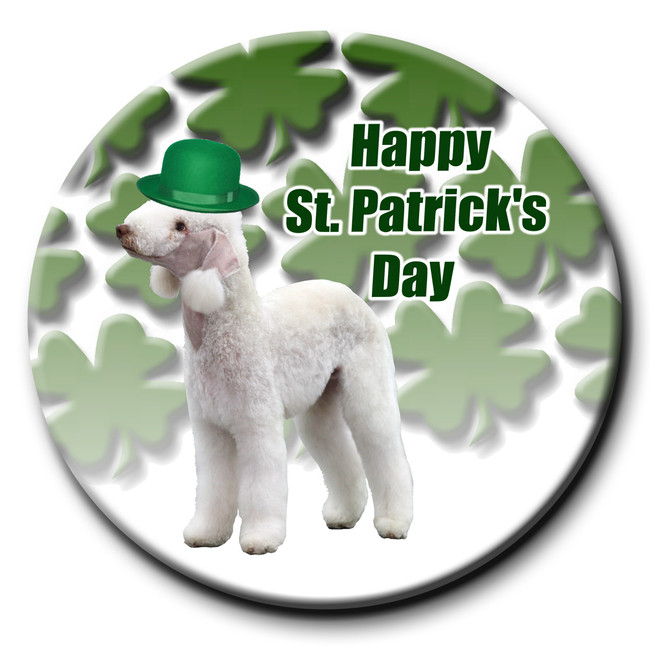 Bedlington Terrier St Patricks Day Pin Badge