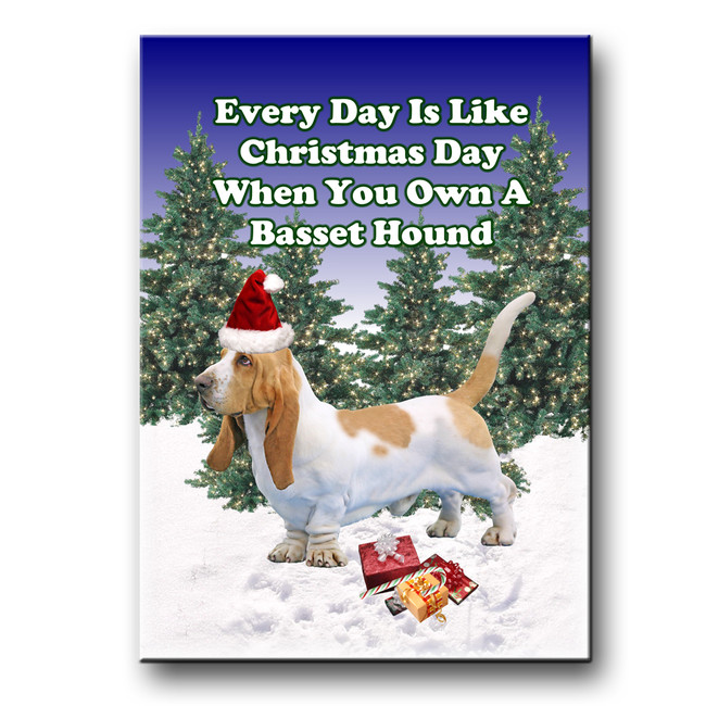 Basset Hound Christmas Holidays Fridge Magnet No 1