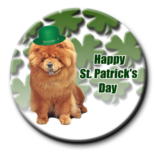 Chow Chow St Patricks Day Pin Badge