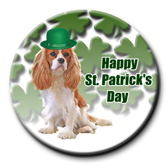 Cavalier King Charles Spaniel St Patricks Day Pin Badge No 2