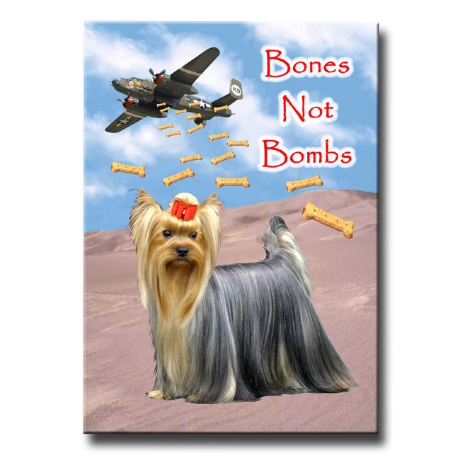 Yorkshire Terrier Bones Not Bombs Peace Fridge Magnet