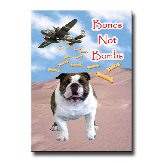English Bulldog Bones Not Bombs Fridge Magnet No 1