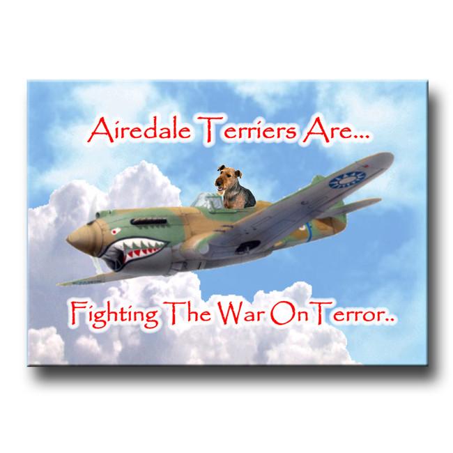 Airedale Terrier War on Terror Fridge Magnet