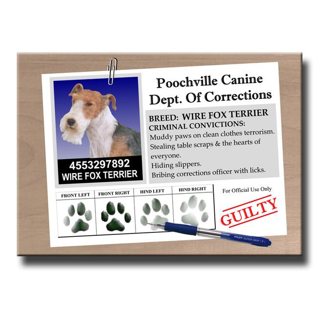Wire Fox Terrier Rap Sheet Fridge Magnet No 2