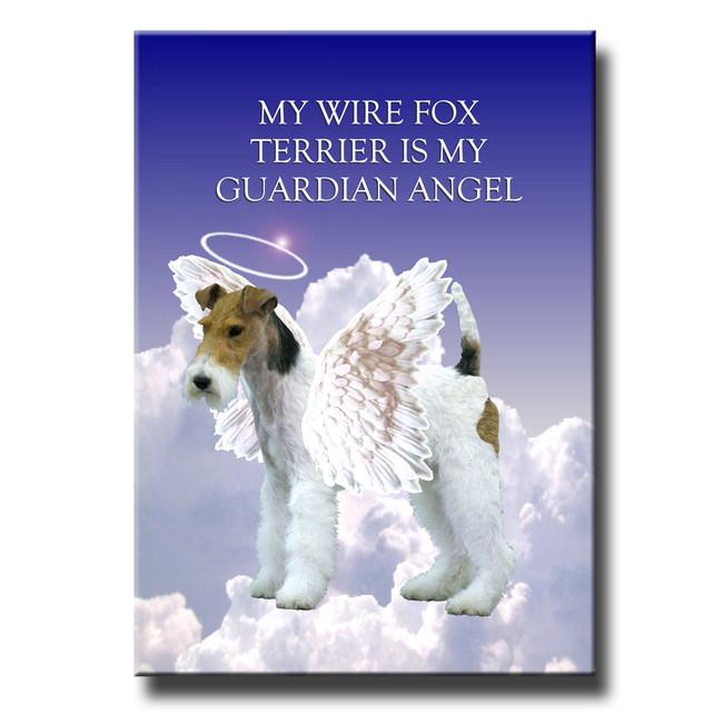 Wire Fox Terrier Guardian Angel Fridge Magnet No 1