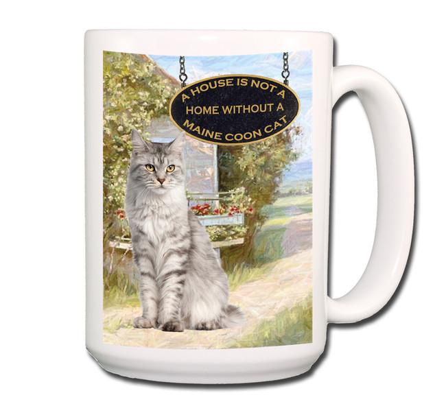 Maine Coon Cat a House is Not a Home Coffee Tea Mug 15 oz No 1 (001)