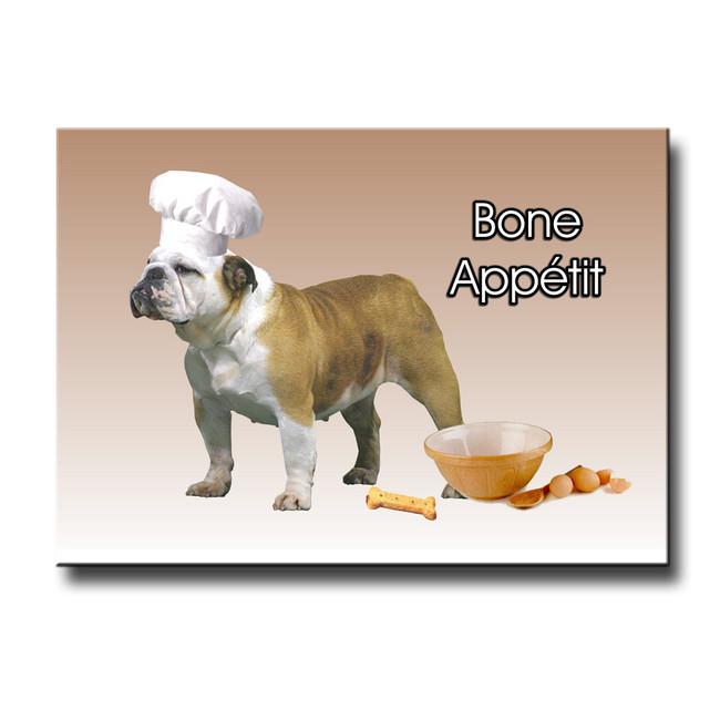 English Bulldog Bone Appetit Chef Fridge Magnet No 2