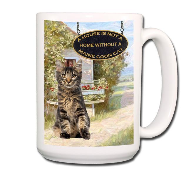 Maine Coon Cat a House is Not a Home Coffee Tea Mug 15 oz No 3 (003)