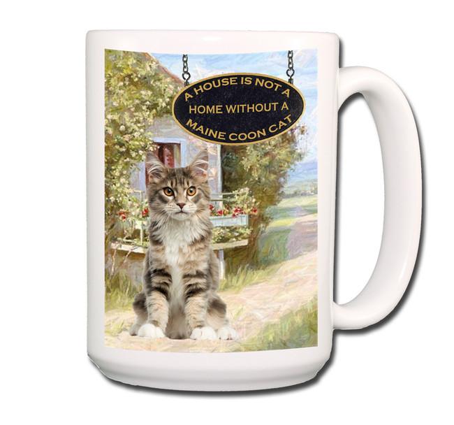 Maine Coon Cat a House is Not a Home Coffee Tea Mug 15 oz No 4 (004)
