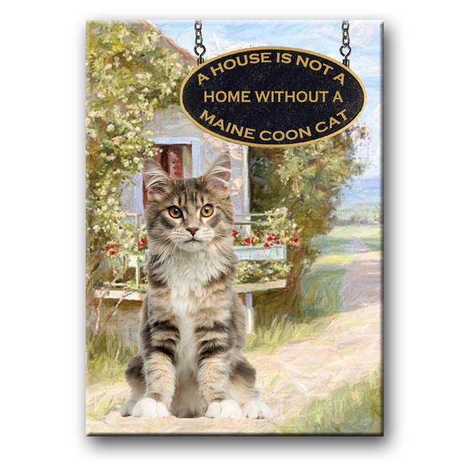 Maine Coon Cat a House is Not a Home Fridge Magnet No 4 (004)