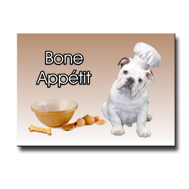 English Bulldog Bone Appetit Chef Fridge Magnet No 3