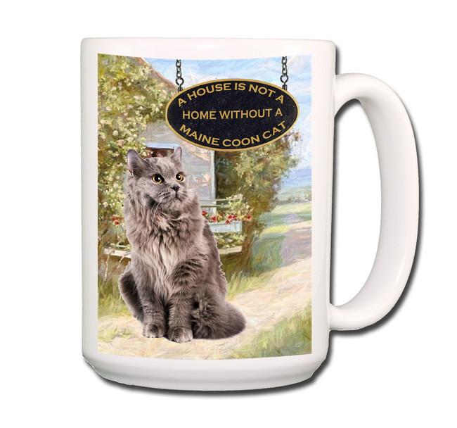 Maine Coon Cat a House is Not a Home Coffee Tea Mug 15 oz No 5