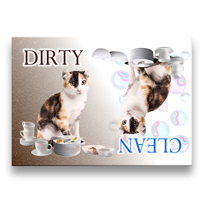 American Curl Cat Clean Dirty Dishwasher Magnet No 1 Calico