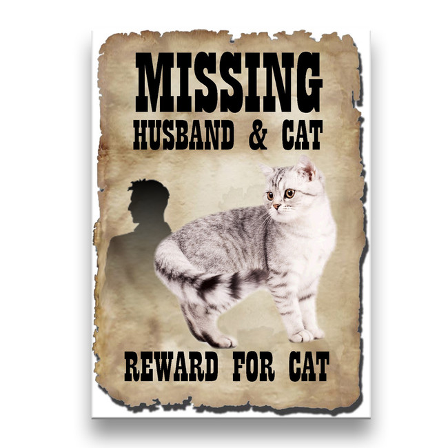 American Shorthair Cat Husband Missing Reward Fridge Magnet No 1