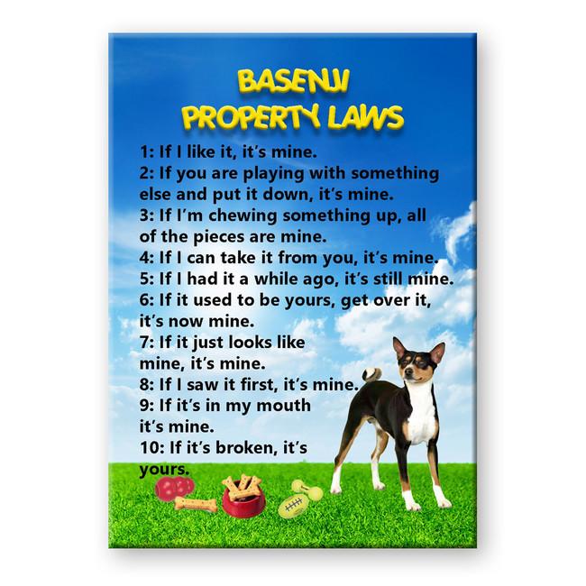 Basenji Property Laws Fridge Magnet No 2