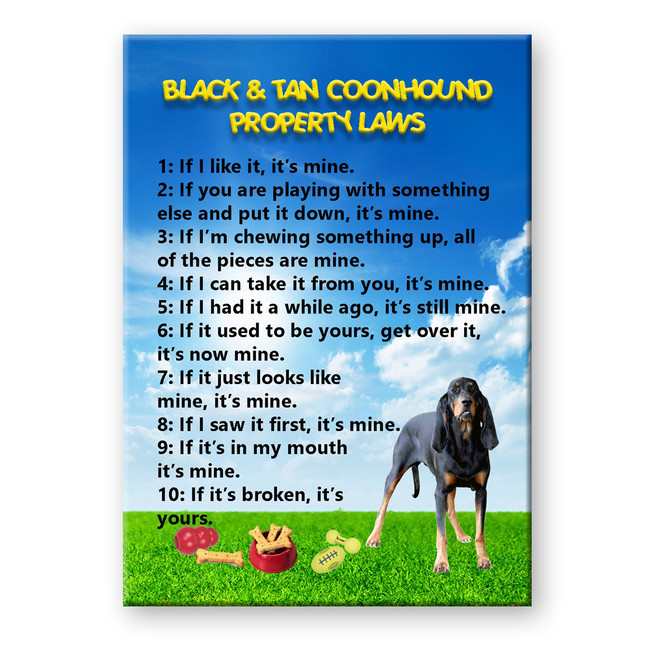 Black and Tan Coonhound Property Laws Fridge Magnet