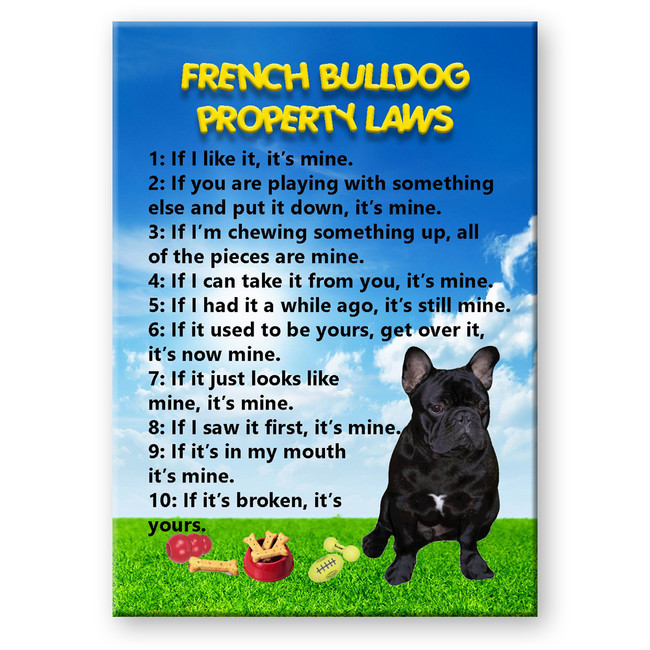 French Bulldog Property Laws Fridge Magnet No 2
