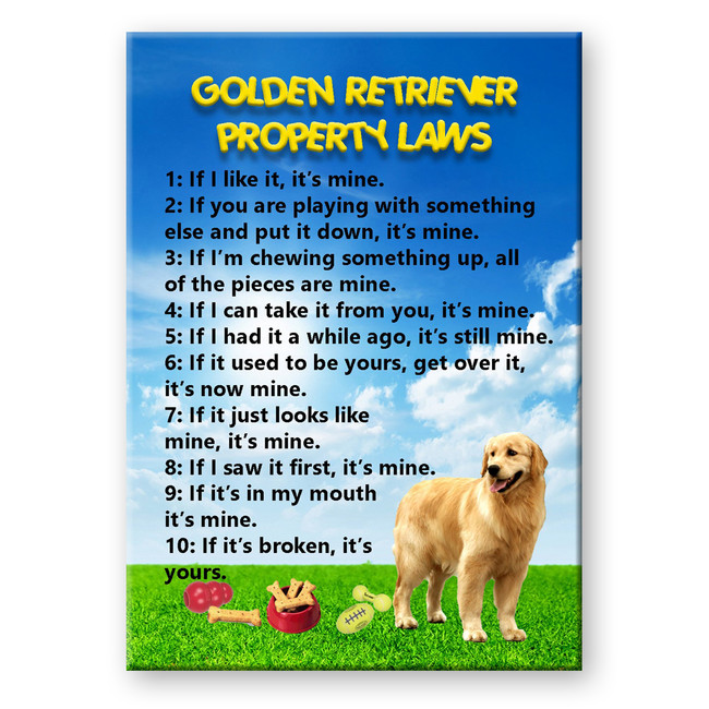 Golden Retriever Property Laws Fridge Magnet