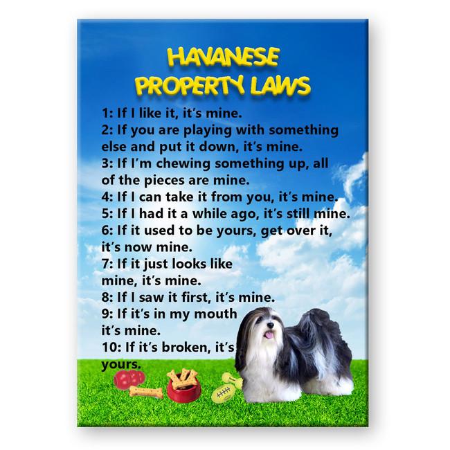 Havanese Property Laws Fridge Magnet No 2