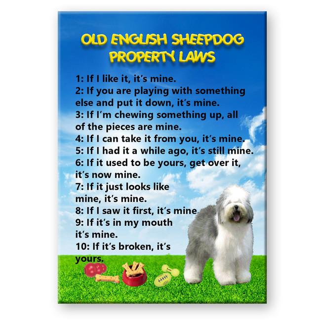 Old English Sheepdog Property Laws Fridge Magnet