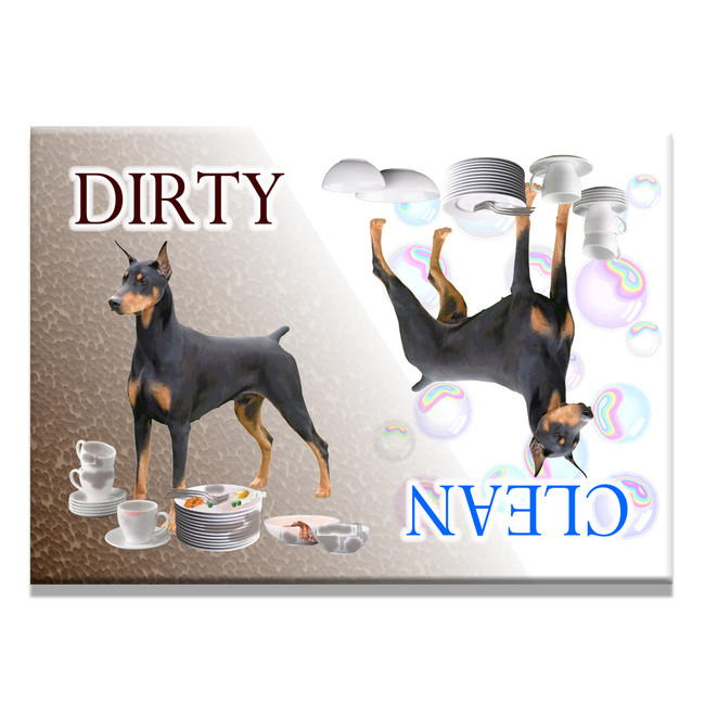 Doberman Pinscher Clean Dirty Dishwasher Magnet No 1